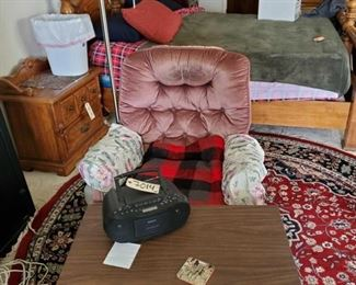 """Rocking Chair, Small Coffee Table, Floor Lamp, Radio, and More! Rocking Chair, Small Coffee Table, Floor Lamp, Radio, and More! Coffee table measures 30""""(L)×20.5(H)×18""""(W)"""