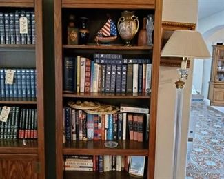 """Bookcase with 5 Shelves Measures approx 30""""x16""""x76 Everything onshelves are included. Contains decanters, books, cases, fake plant"""