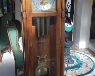 """Ridgeway Grandfather Clock with Key Registered Serial Number: 85011907 Measures approx 23"""" x 12"""" x 80"""""""