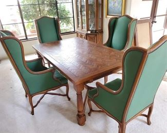 "Wooden Dining Room Table with 4 Chairs and 2 Leaves Chairs are Cal-Mode Furniture Co - chair 6038 French Walnut Table measures approx 74"" x 44"" x 29"" and 120"" with leaves"