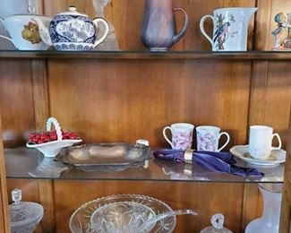 Tea Pits, Tea Cups, Glass Punch Bowl, Pitcher, Candy Dish and more Also includes table linens, napkin rings, figurines and more