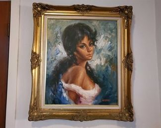 """Signed Framed Painting Artist unknown. Measures approx 27""""x31"""""""