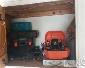 Skil Saw Power Tool, Tool Boxes and More! Items include Skilsaw model number 5275, empty tool boxes, drills, tool belt.