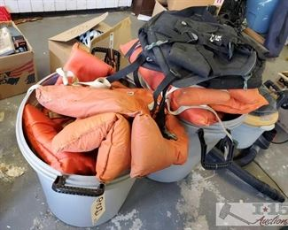Approx 12 Life Jackets with Trashcans