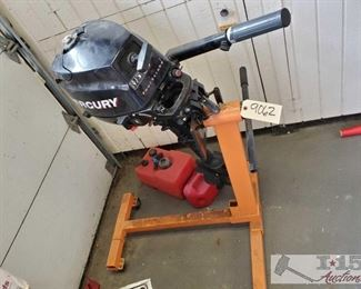 Mercury Four Stroke Boat Motor, Engine Stand and Gas Cans