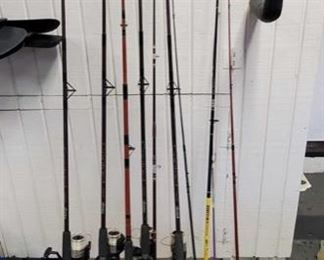 10 Fishing Poles: Brands are oakum, big water,  and shakespeare.