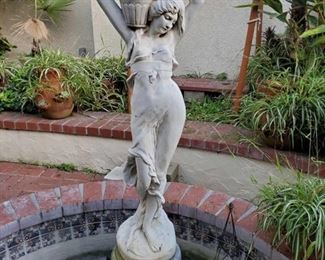 """Statue Fountain and Metal Tower measures approx 5'2. Metal Tower measures approx 24"""""""