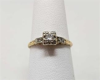 14k Gold Diamond Ring, 1.4g Weighs approx 1.4g, Diamond Size Approximately 1/16k, Ring Size Approximately 6