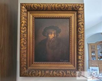 """Signed Framed Oil on Canvas By K.Kusenzov. Konstantin Konstantinovich Kuznetsov A Russian Artist Measures approx 13""""x15"""" Signed Painting By K.Kusenzov. Konstantin Konstantinovich Kuznetsov A Russian Artist   Artist biography (1895 - 1980) Konstantin Konstantinovich Kuznetsov was active/lived in Russian Federation.  He is known for paintings Konstantin Kuznetsov was born in 1895 in St. Petersburg and became a very well known illustrator in the Soviet Union. As of 1944 he was in a prisoner of war camp in Yugoslavia, and after the war would later live in Munich before emigrating for the United States , where he would continue his career as an illustration artist..Konstantin Konstantinovich Kuznetsov arrived in Los Angeles from Russia in 1948. His illustrations and paintings, influenced by Ilya Repin's historical paintings and Belinin's fairy-tale folk style, quickly found favor with the Russian community In the 1950s, Kuznetsov met the Russian-born Sonia Colefax, who was quickly captivate"""