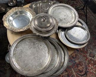 4. Lot of silver plate Platters
