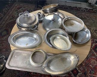 7. Lot of Various Silver Plate Trays