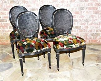 1. Four Louis XVI Style Black Lacquer Chairs