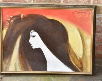 9. Contemporary Oil on Canvas Portrait of a Woman