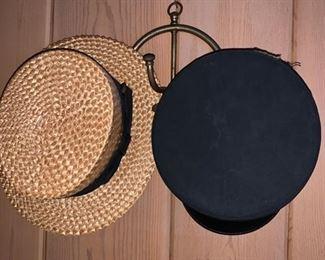 Metal Hat Rack, Straw Hat and Train Conductors Cap