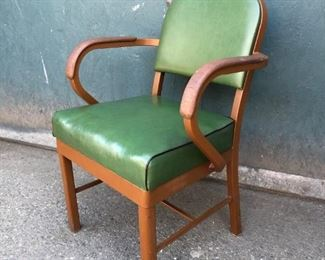 Vintage Green Leather Y&E Steel Chair by Harter