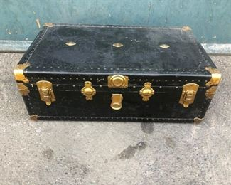 Vintage Trunk w/ Travel Stickers and Gold Details