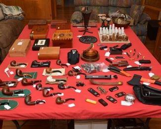 table full of man stuff