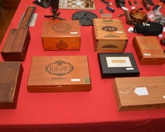 hand tooled leather box, cigar boxes