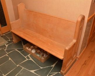 church pew/bench, collection of sea shells