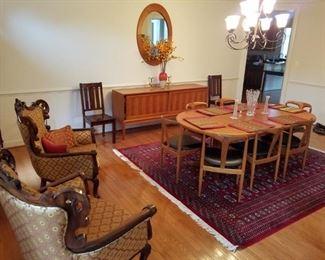 mid century modern dining room set (table/6 chairs/server/china cabinet). By Uldum Mobelfabrik