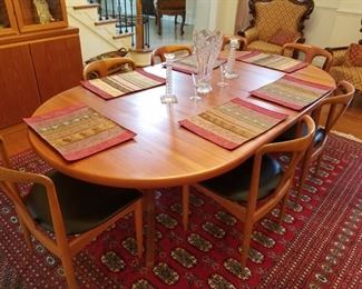 """mid century modern dining room set (table/7 chairs/server/china cabinet). Table measures: 87"""" long x 47"""" wide. By Uldum Mobelfabrik"""