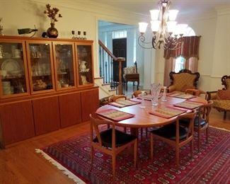 mid century modern dining room set (table/6 chairs/server/china cabinet) By Uldum Mobelfabrik