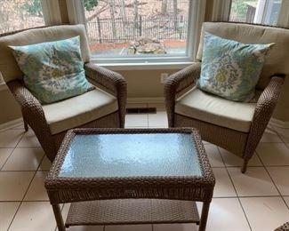 Wicker IndoorOutdoor Sofa and Chairs