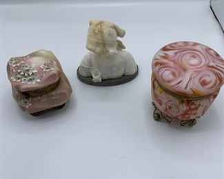 Alabaster Bust, Two Covered Hinged Jars