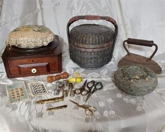 Antique Sewing and Needlework, Bakelite Needle Holders, and More