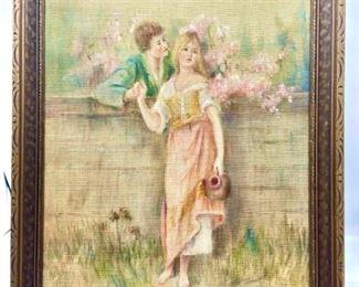 Hand Painted Silk Framed Art