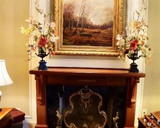 Solid brass andirons and fire screen
