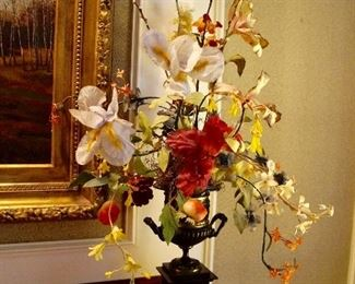 Pair; marble base with ceramic urn vase with silk flowers