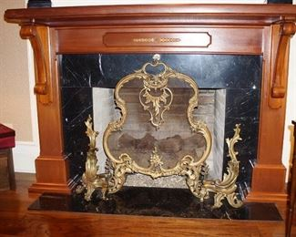 Solid brass andirons and fire screen (3 pieces)