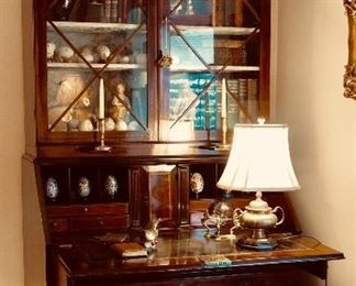 """Fine English style Secretaire with silk lined interior, individual glass panes, hand tooled leather writing surface, inlaid scrolled motif and broken pediment top.  90"""" height"""