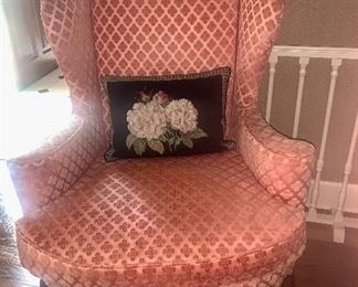 Queen Anne cut velvet wing chairs with shell motif