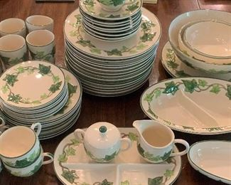 #279 - Franciscan Ivy China/dinnerware -  (121 pieces) small chip in large serving bowl . $750