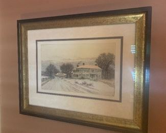 #344 - Collotype print, home of Ralph Waldo Emerson by artist J. Fagin - $70