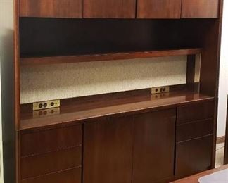 OFS Brand ~ 2 Piece Cherry Wood Office Credenza w/Electric Power Ports ~ 78 in. x 20 in. x 74 in. tall