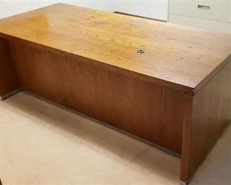 Solid Oak Veneer Executive Desk ~ 78 in. x 36 in. x 29 in.