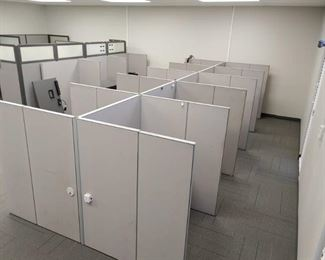 Large Lot of Office Cubicle Walls and Desks with Supporting Brackets Completely Disassembled; Builds Back Together Easily - LOCAL PICKUP ONLY
