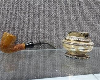 Vintage Table Lighter and Pipe - WILL SHIP
