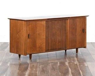 Mid Century Modern Maple Lift Top Credenza Bar Cabinet
