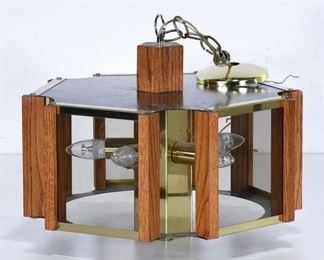 Mid Century Brass & Oak Drum Light Fixture