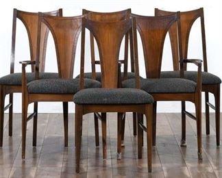 Set 6 Mid Century Modern Walnut Dining Chairs
