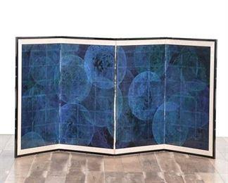 Large 8X3.5' Mid Century Geometric Pattern Asian Screen