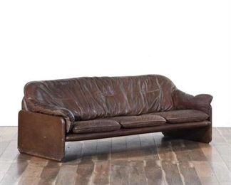Mid Century Low Profile Sleek Leather Sofa