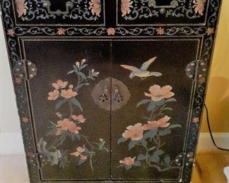 Larger black lacquer Oriental 2 door cabinet