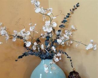 Oriental ginger jar and floral arrangement