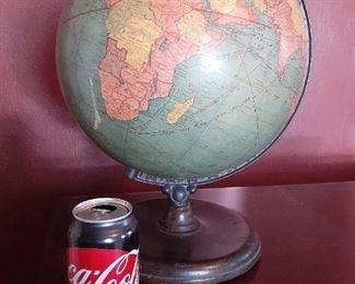 Large VINTAGE globe - coke can for scale