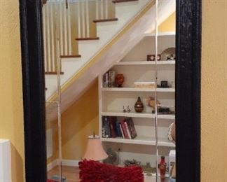 Black lacquer framed mirror